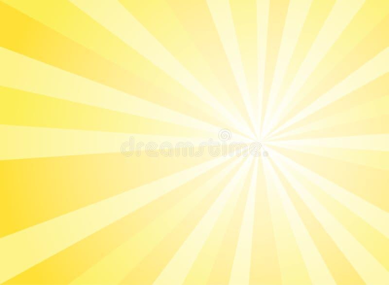 Fundo largo abstrato da luz solar Fundo horizontal amarelo e branco da explosão de cor Ilustração do vetor Sunburst do raio do fe ilustração royalty free
