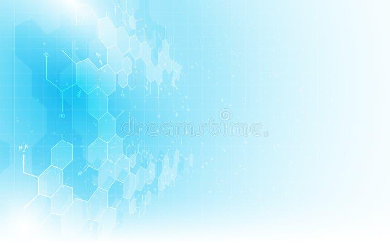 Fundo limpo do conceito do projeto da estrutura da química da fórmula do teste padrão da textura da ciência abstrata ilustração do vetor