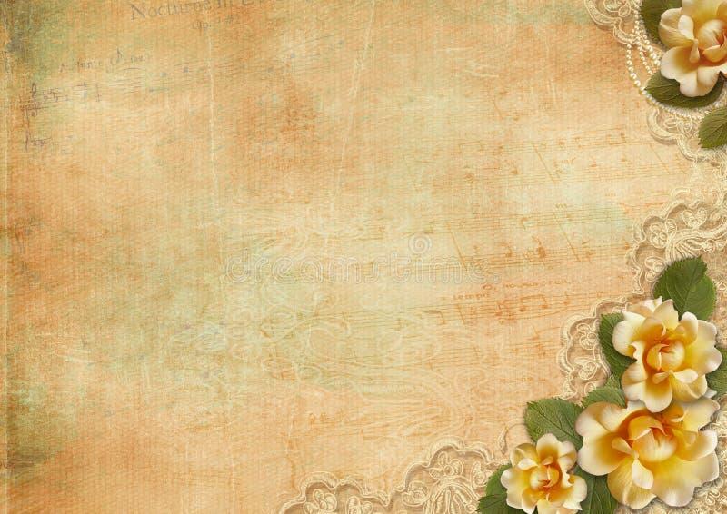 Fundo lindo do vintage com rosas e laço ilustração stock