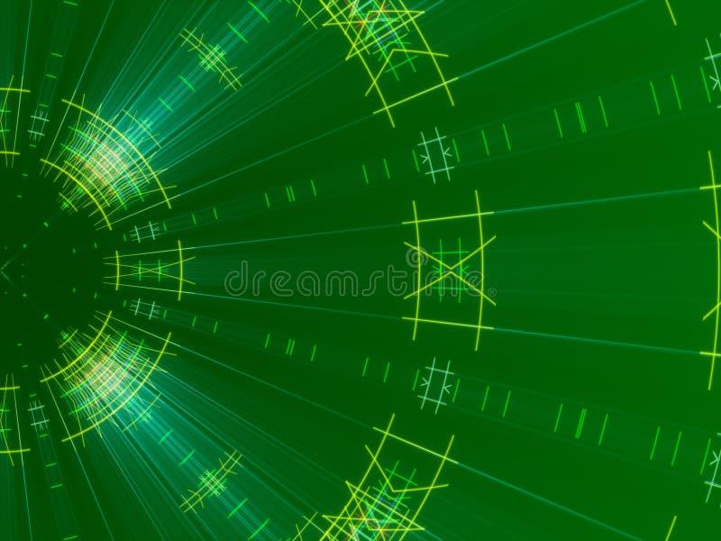 Fundo, linhas e luz abstratos verdes ilustração stock