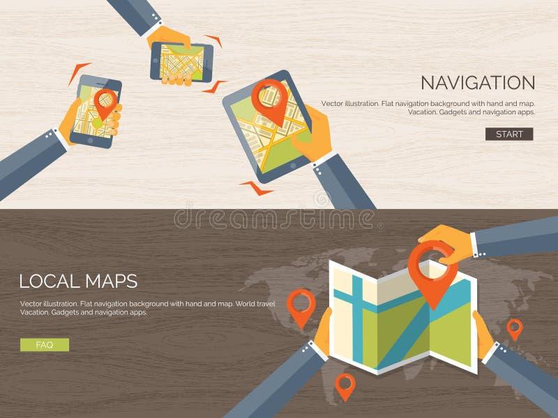 Fundo liso da ilustração do vetor Navegação, viajando Encontrar do lugar do ponteiro do mapa Aplicação web ilustração stock