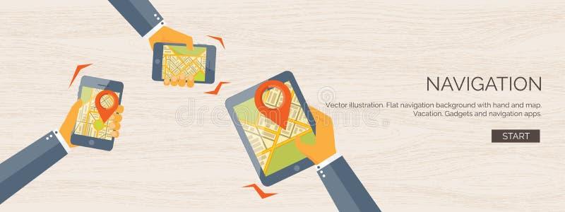 Fundo liso da ilustração do vetor Navegação, viajando Encontrar do lugar do ponteiro do mapa Aplicação web ilustração do vetor