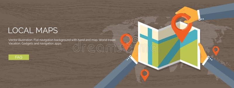 Fundo liso da ilustração do vetor Navegação, viajando Encontrar do lugar do ponteiro do mapa Aplicação web ilustração royalty free