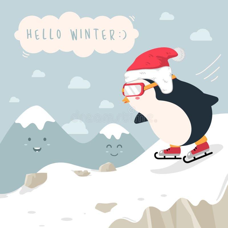 Fundo liso do projeto da patinagem no gelo do pinguim do inverno ilustração stock