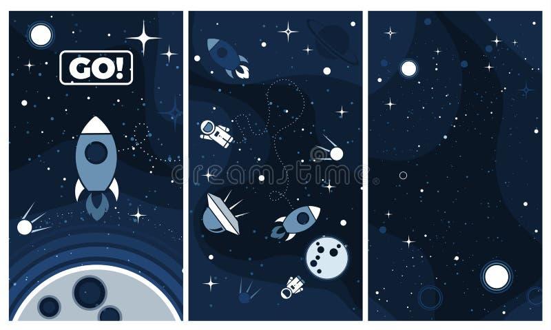 Fundo liso do projeto do cosmos do vetor para o app móvel ilustração royalty free