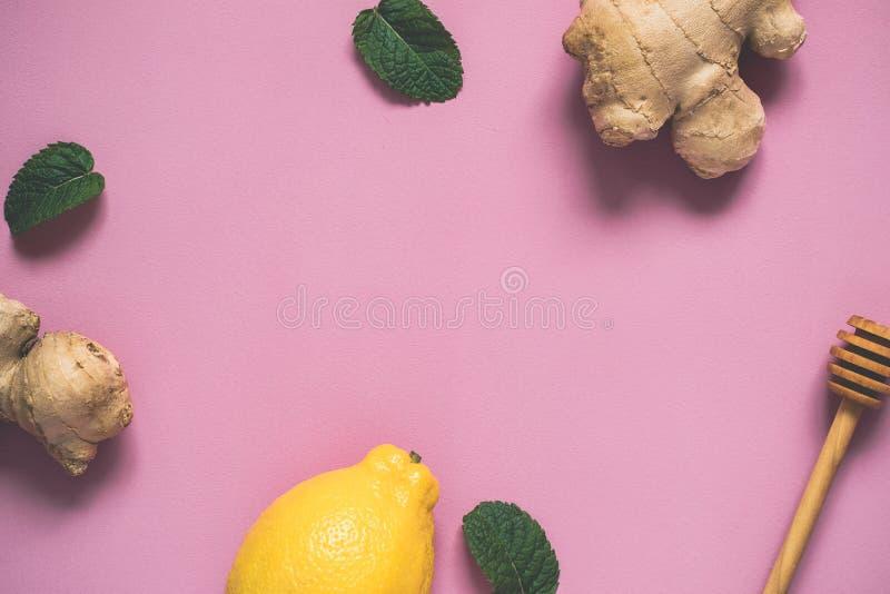 Fundo liso do rosa da configuração com limão, folhas de hortelã e gengibre Conceito do cozimento e da saúde foto de stock royalty free