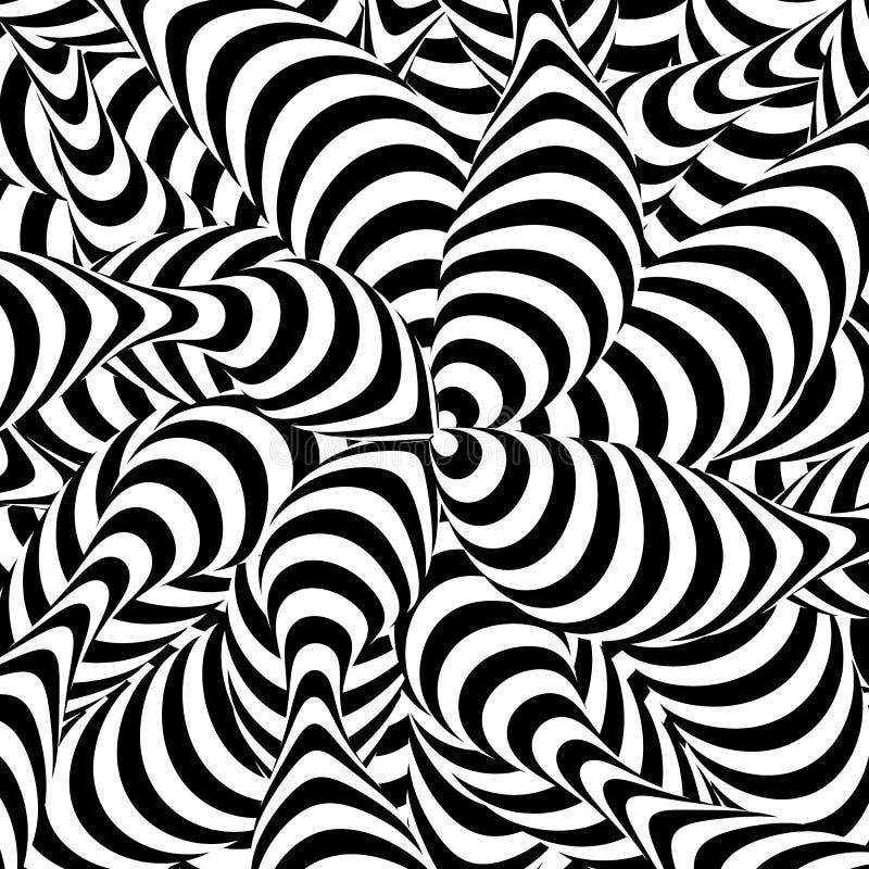 Fundo listrado abstrato Fenômeno do redemoinho espiral Hipnose preto e branco, raios Art Illustration ótico ilustração royalty free