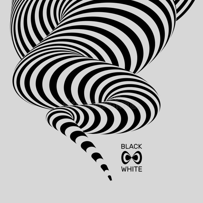 Fundo listrado abstrato preto e branco Arte óptica Ilustração do vetor ilustração royalty free