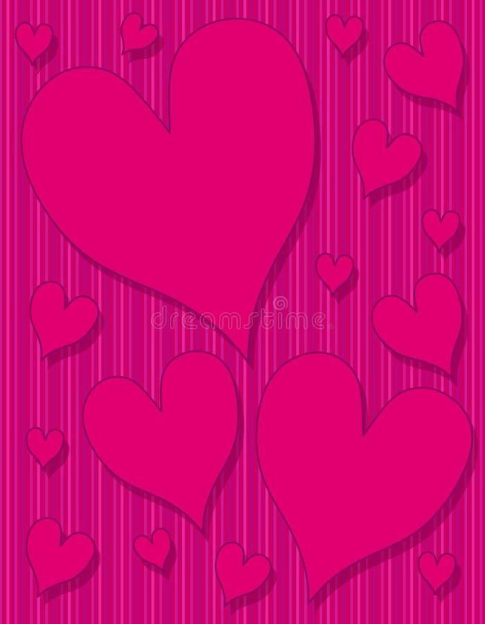 Fundo listrado cor-de-rosa escuro dos corações roxos ilustração stock