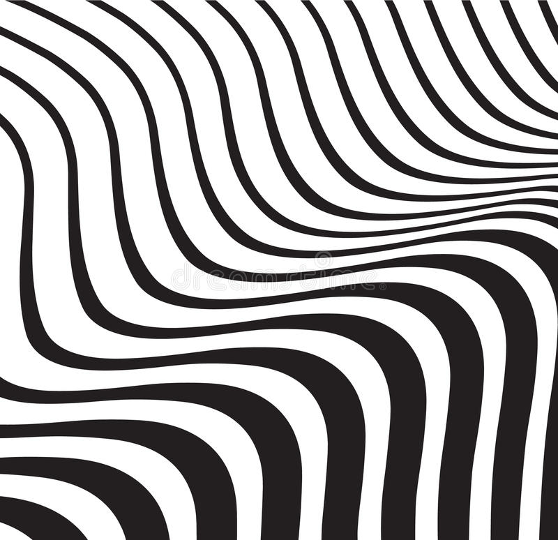 Fundo listrado do sumário ótico da onda preto e branco ilustração stock