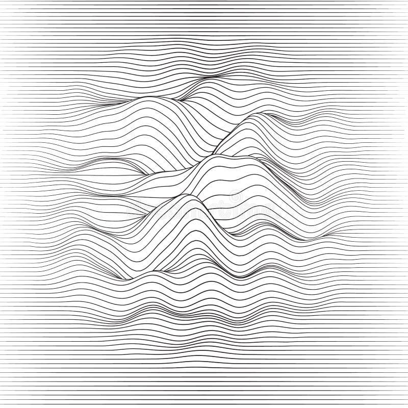 Fundo listrado do vetor Linha abstrata ondas Oscilação da onda sadia Linhas onduladas funky Textura ondulada elegante ilustração stock