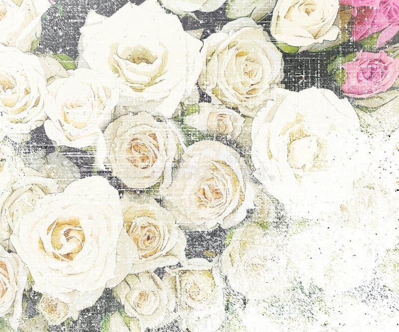 Fundo listrado do vintage do grunge floral com rosas ilustração do vetor