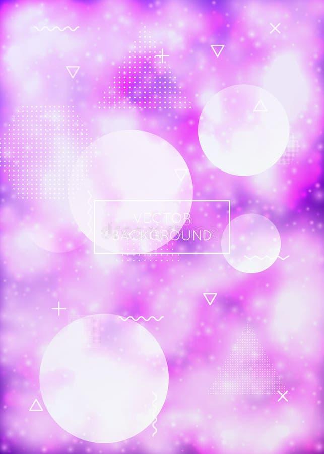 Fundo luminoso com formas de néon líquidas Líquido roxo Tampa fluorescente com inclinação do bauhaus ilustração royalty free