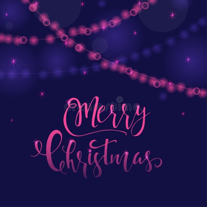 Fundo luminoso roxo festivo maravilhoso e original com Natal ilustração do vetor