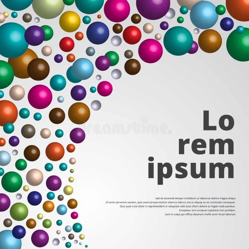 Fundo lustroso colorido das esferas 3d para a cópia do molde, anúncio, po ilustração stock