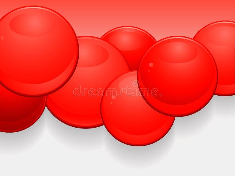 Fundo lustroso vermelho da paisagem das esferas 3D ilustração do vetor