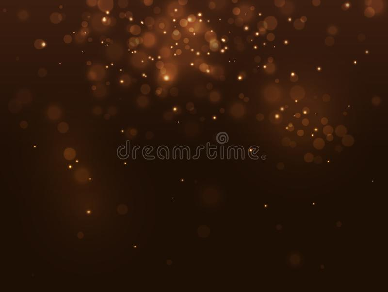 Fundo luxuoso abstrato dourado do bokeh Faíscas do ouro do efeito da luz Borrão do Natal Confetes de queda da efervescência amare ilustração do vetor
