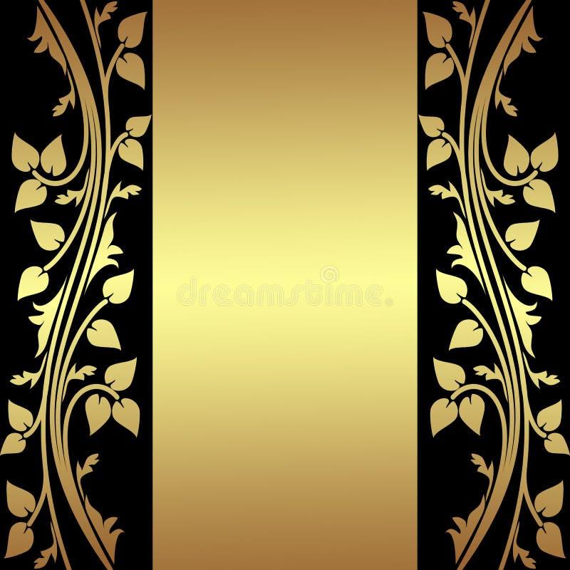 Fundo luxuoso com beiras florais douradas. ilustração do vetor
