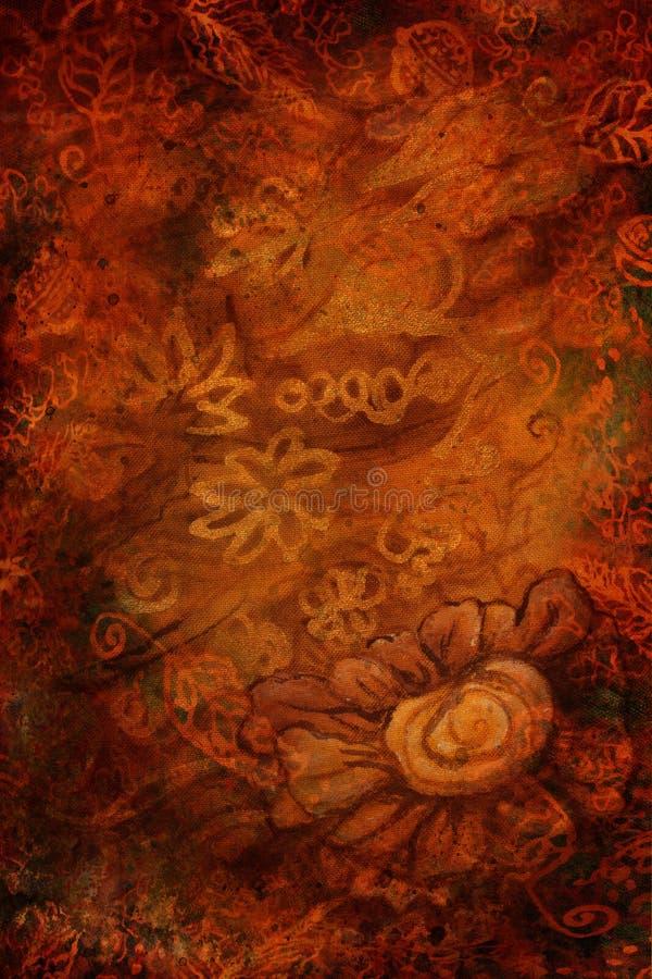Fundo luxuoso do marrom do ouro com flores abstratas vertical fotos de stock royalty free