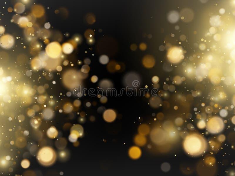 Fundo luxuoso dourado brilhante defocused das luzes do bokeh do brilho do sum?rio Eps 10 ilustração royalty free
