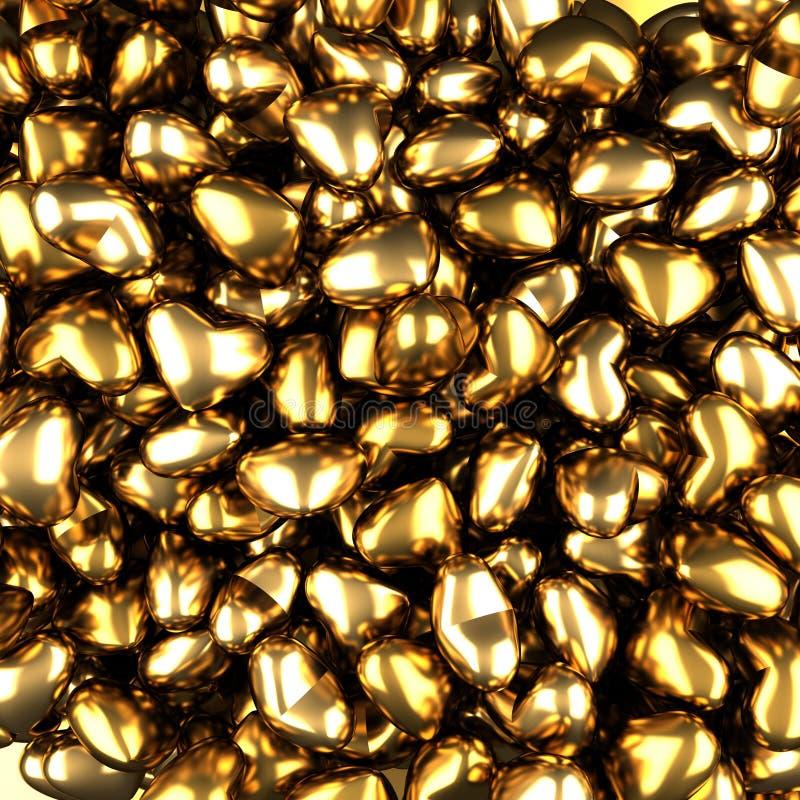 Fundo luxuoso dourado dos corações do Valentim ilustração stock