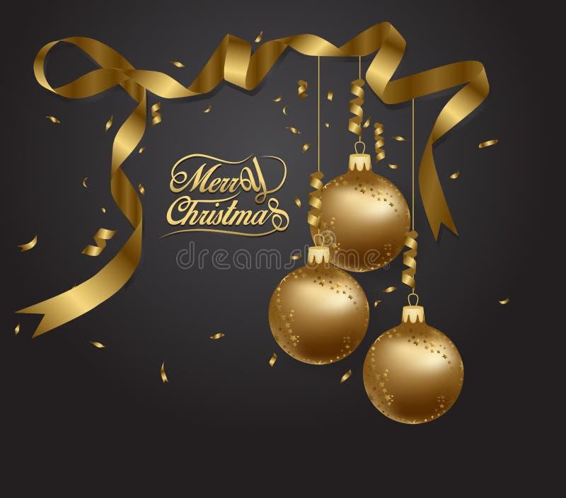 Fundo luxuoso superior para o cartão do feriado Ornamento dourado da decoração com bola do Natal Rotulação da caligrafia do ouro ilustração do vetor