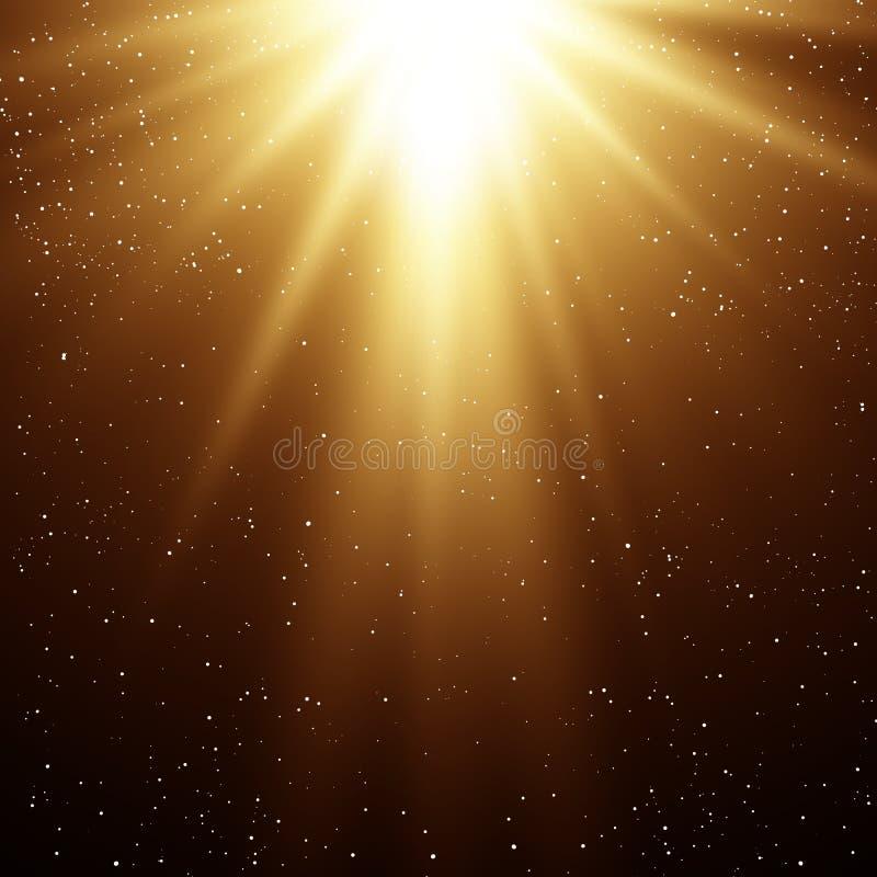 Fundo mágico abstrato da luz do ouro ilustração do vetor