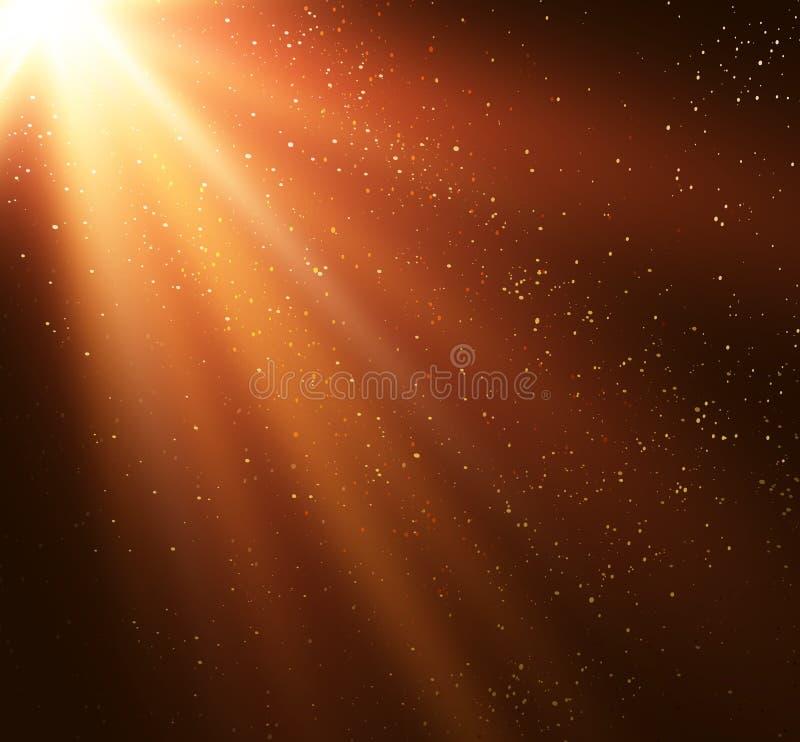 Fundo mágico abstrato da luz do ouro ilustração stock