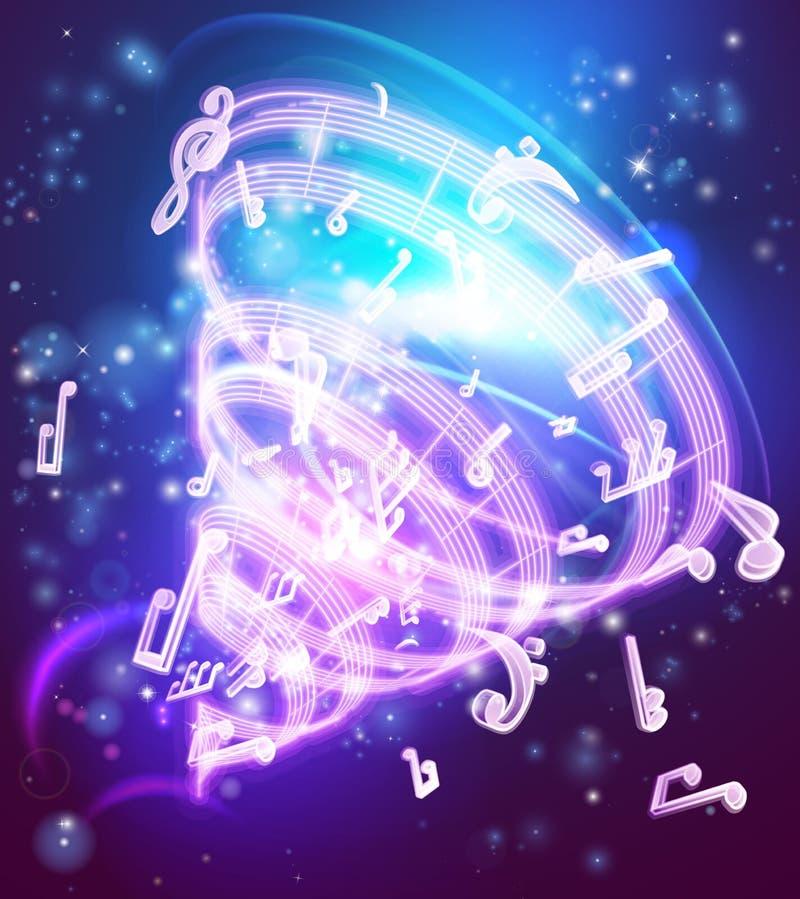 Fundo mágico abstrato das notas musicais da música ilustração do vetor