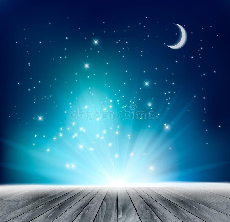 Fundo mágico bonito da noite ilustração stock