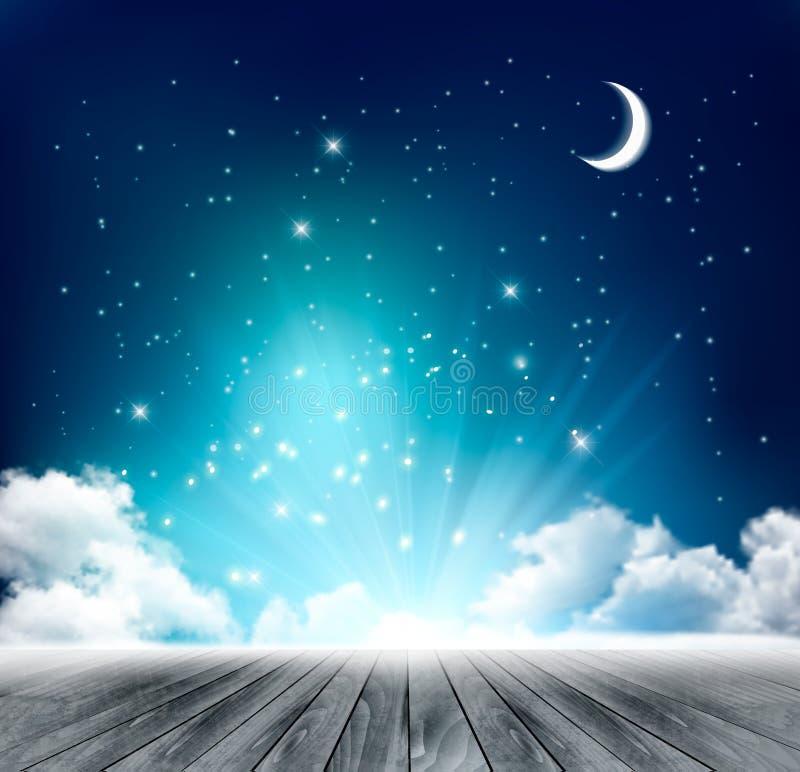 Fundo mágico bonito da noite com lua e estrelas ilustração royalty free