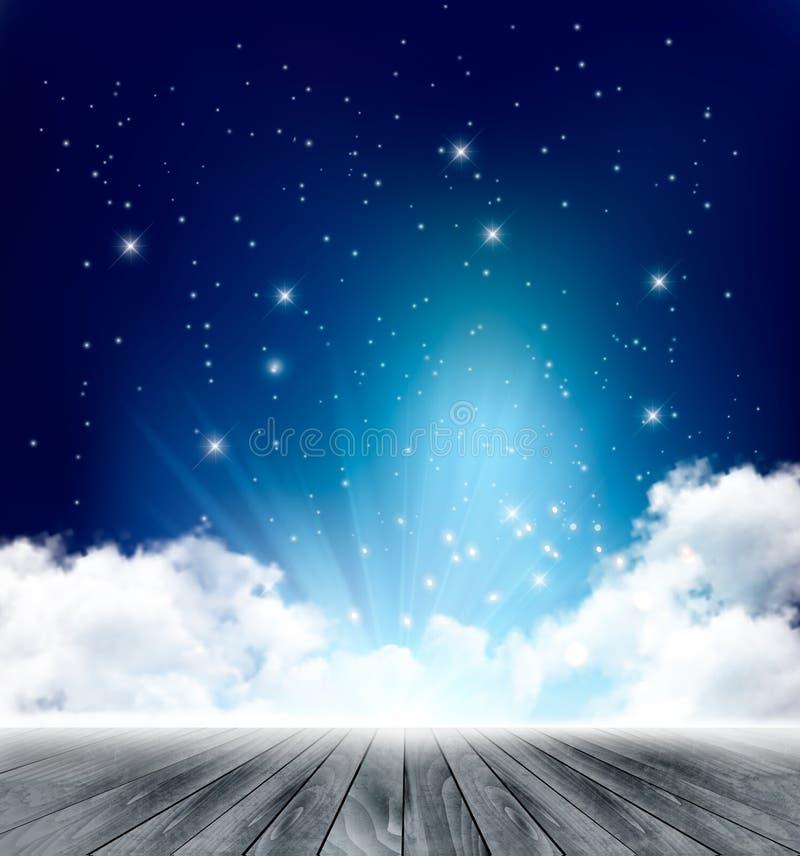 Fundo mágico bonito da noite com lua e estrelas ilustração stock