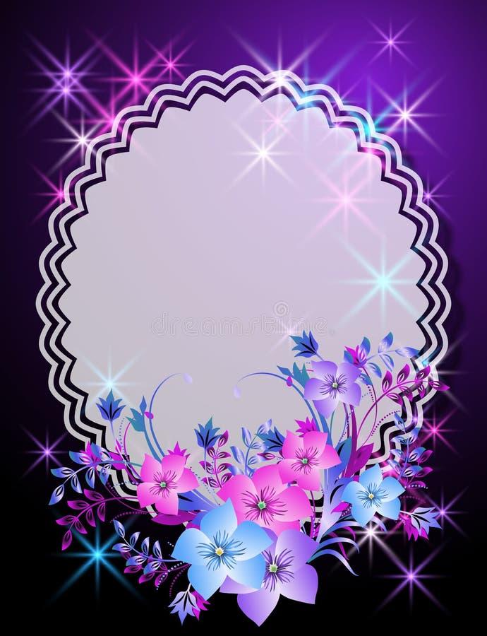Fundo mágico com flores e guardanapo ilustração stock