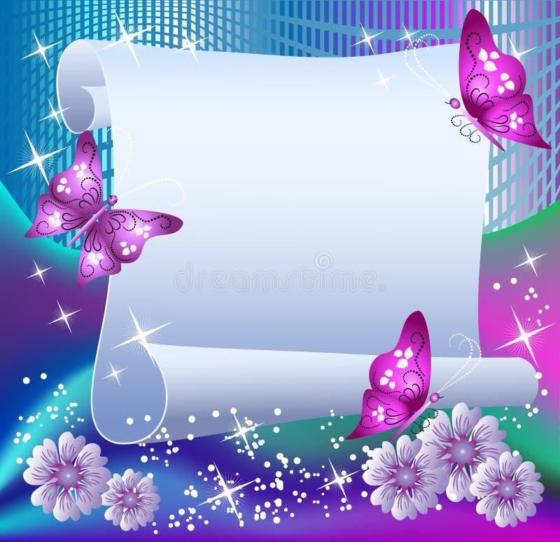 Fundo mágico com papel ilustração stock