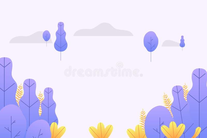 Fundo mágico da natureza com folhas da fantasia e as árvores fantásticas Vetor ilustração do vetor
