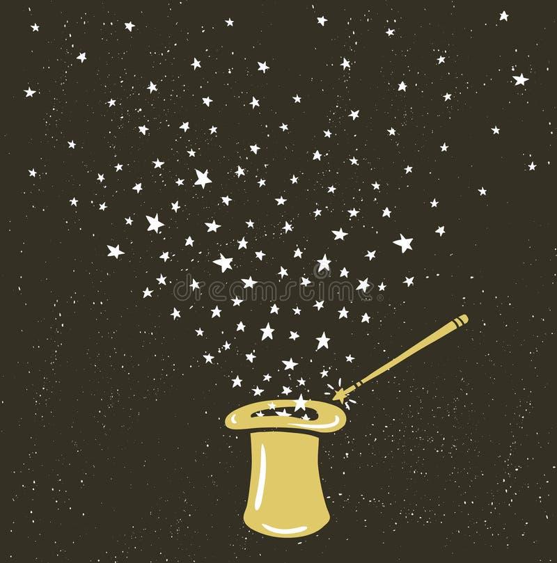 Fundo mágico do chapéu com poeira de estrelas e varinha da mágica ilustração royalty free