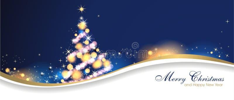 Fundo mágico do Natal com estrelas e árvore de Natal ilustração do vetor