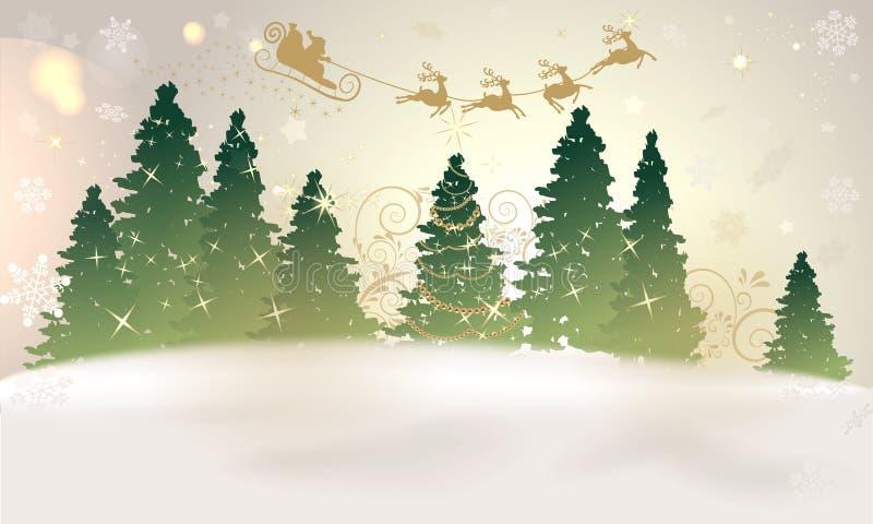 Fundo mágico do Natal com Santa e árvore de Natal ilustração stock
