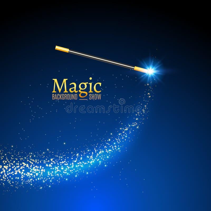 Fundo mágico do vetor da varinha Varinha do mágico do milagre com luzes da faísca ilustração do vetor