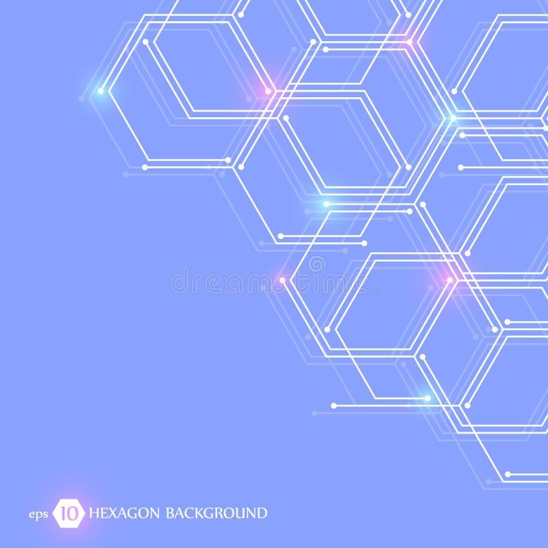 Fundo médico abstrato Carcaça sextavada, conexão genética Molécula da estrutura e fundo de uma comunicação ilustração stock