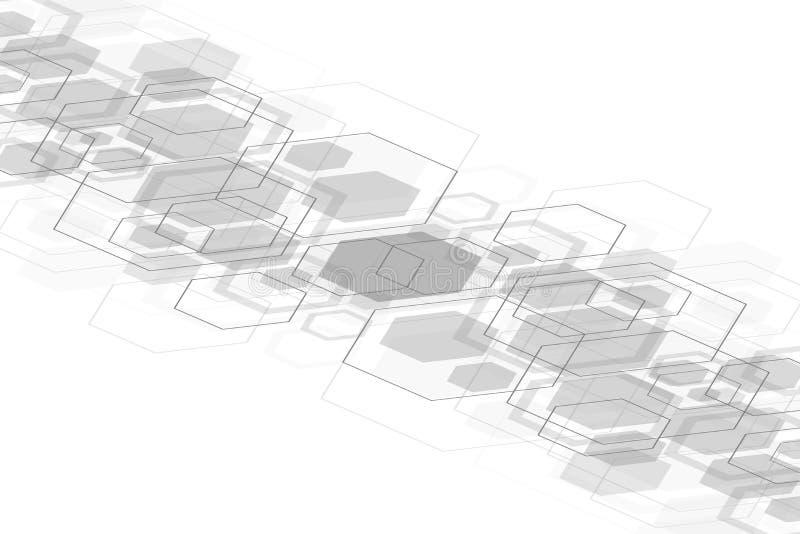 Fundo médico abstrato Pesquisa do ADN Molécula da estrutura e fundo sextavados de uma comunicação para a medicina ilustração do vetor