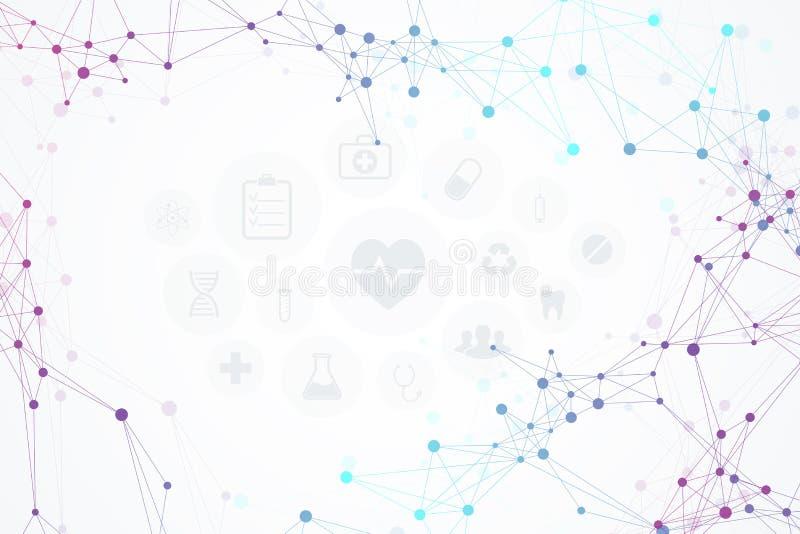 Fundo médico com ícones modernos, conceito das moléculas abstratas da rede da tecnologia Ilustração do vetor ilustração stock