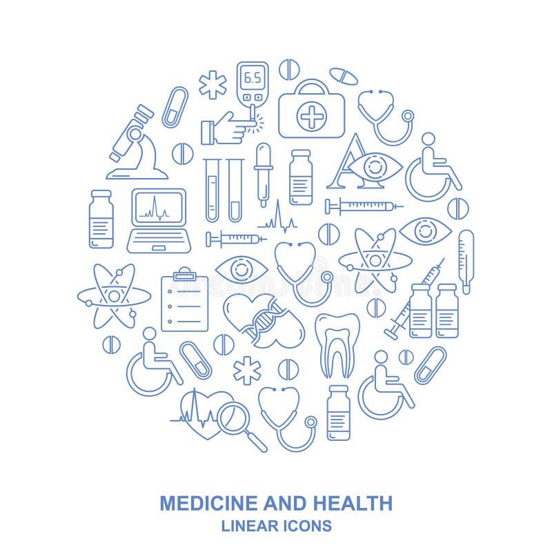 Fundo médico da forma redonda com linha ícones do estilo no branco A medicina e a saúde projetam o teste padrão com símbolos line ilustração royalty free