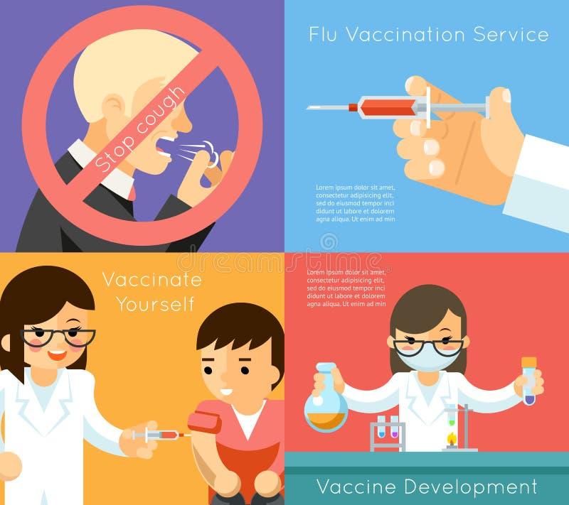 Fundo médico do conceito do vetor da vacinação da gripe ilustração royalty free