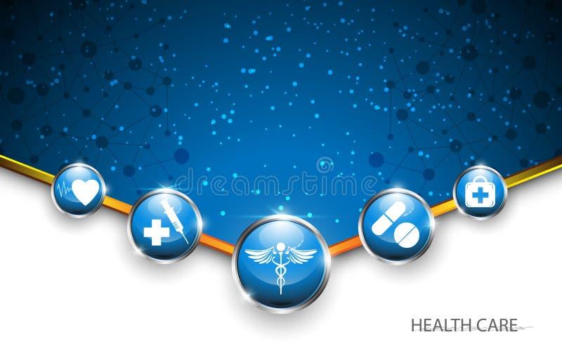 Fundo médico do conceito dos cuidados médicos do botão do círculo ilustração do vetor