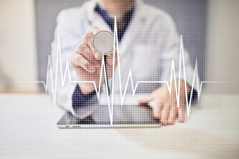Fundo médico do conceito do pulso Medicina e cuidados médicos fotografia de stock