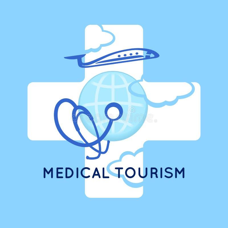Fundo médico do símbolo do conceito do turismo Estetoscópio médico no globo, no avião e na cruz como o sinal médico Logotipo do m ilustração stock
