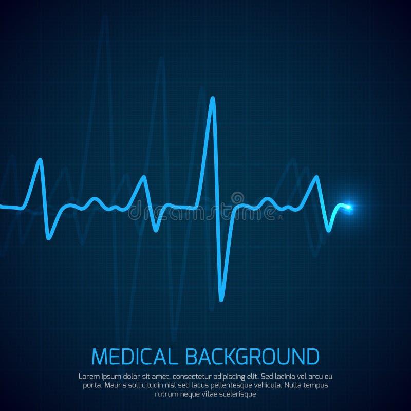 Fundo médico do vetor dos cuidados médicos com cardiograma do coração Conceito da cardiologia com diagrama da taxa de pulso ilustração royalty free