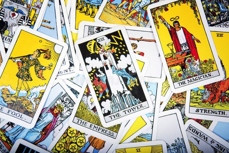 Fundo místico dos cartões de tarô Torre superior do cartão fotos de stock royalty free