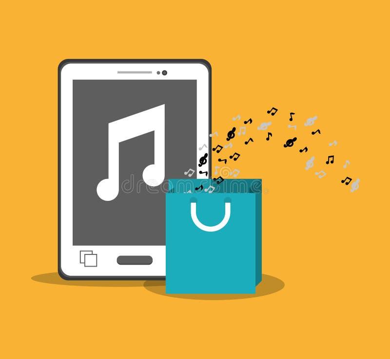 fundo móvel do amarelo da nota do presente do saco do smartphone da música ilustração do vetor
